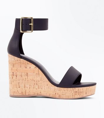 Black Leather Look Two Part Platform Cork Wedges by New Look