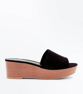 Black Suedette Wood Flatform Sliders by New Look