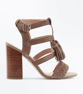 Light Brown Suede Tassel Gladiator Block Heels