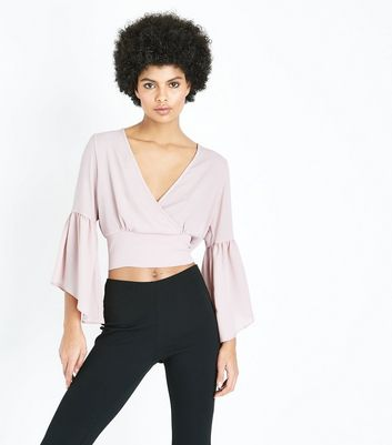 Cameo Rose Mid Pink Wrap Front Flared Sleeve Top