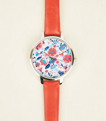 Red Floral Dial Watch