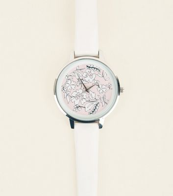 Cream Floral Laser Cut Analogue Watch