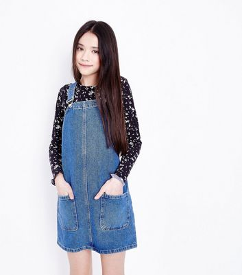 Teens Blue Denim Pinafore Dress