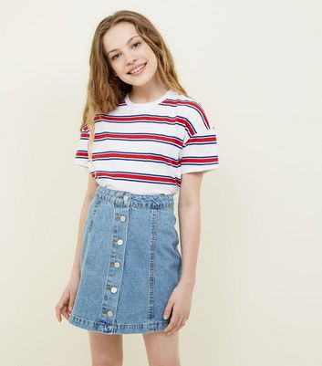 Teens Pale Blue Button Front Denim Skirt by New Look