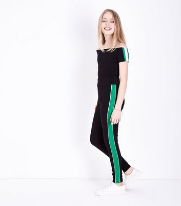 Girls Green Contrast Stripe Side Leggings