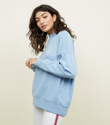 Pale Blue High Neck Oversized Sweatshirt