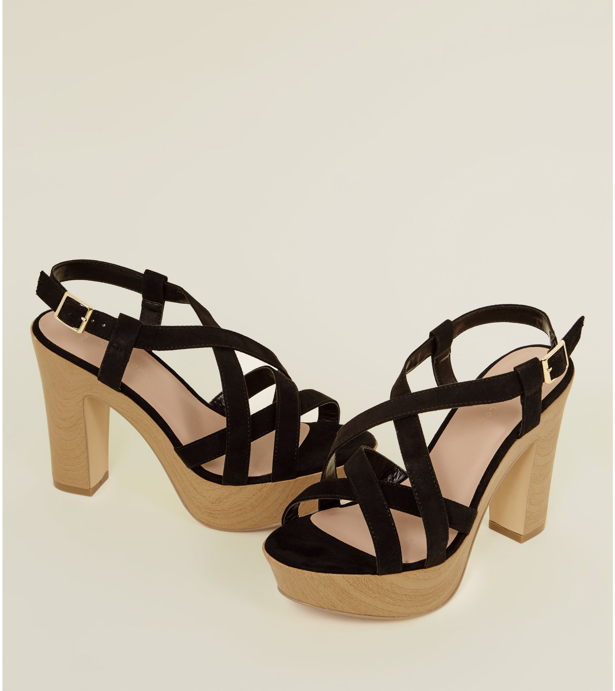 e3f0e58831b New Look Wide Fit Black Suedette Wood Platform Block Heels at £11 ...