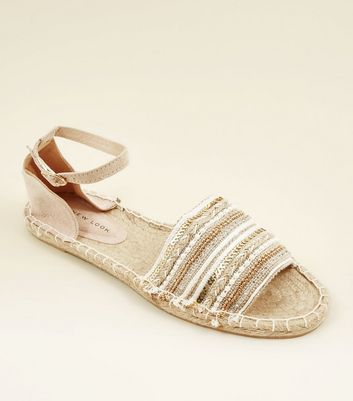 Nude Sequin Embellished Espadrille Sandals