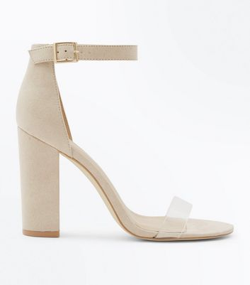 Wide Fit Nude Suedette Clear Strap Heels