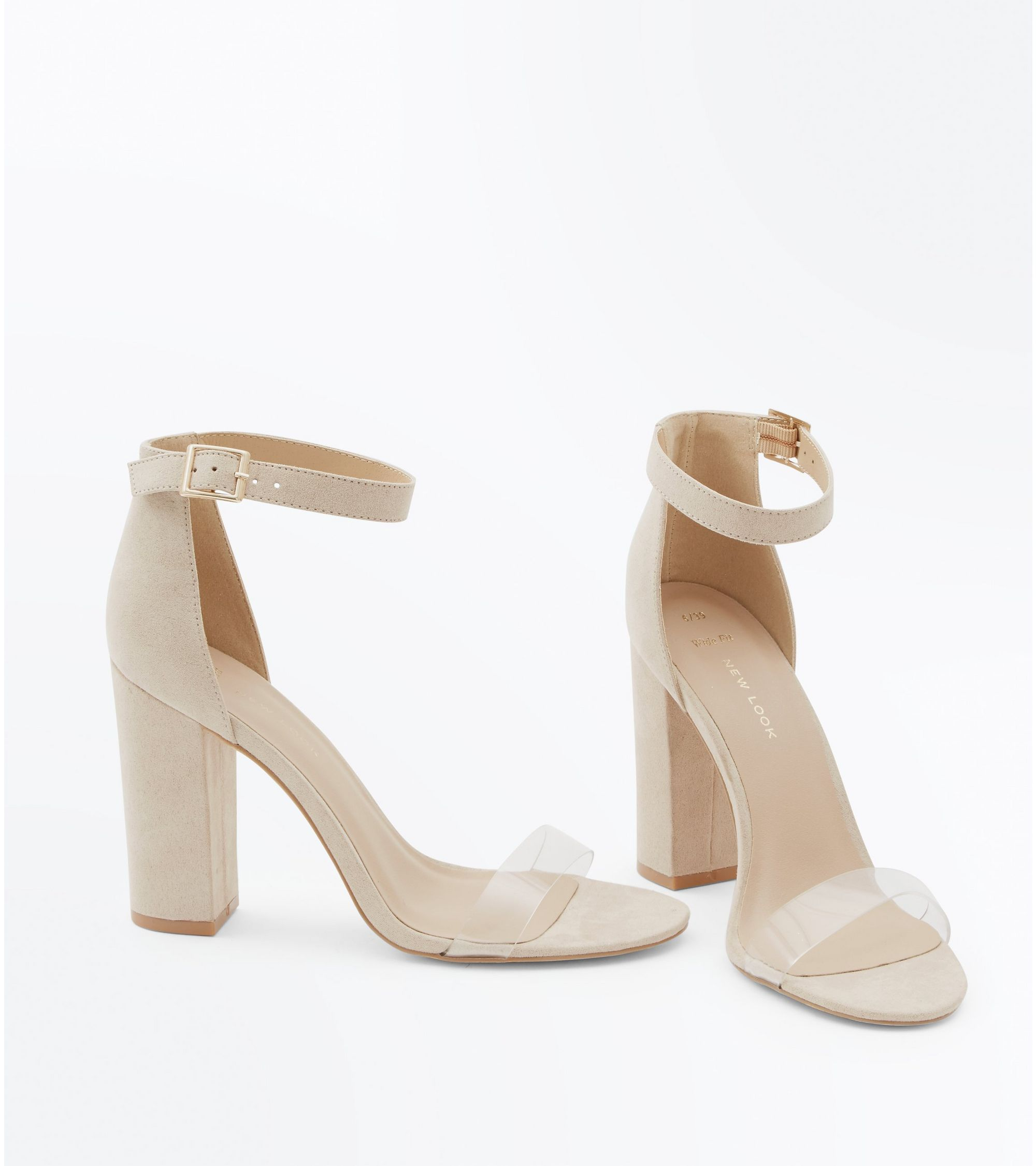 ede1ca05917 New Look Wide Fit Nude Suedette Clear Strap Heels at £12