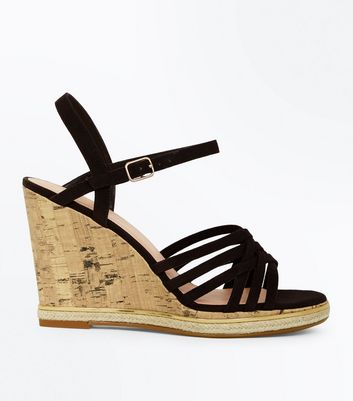 Wide Fit Black Cross Strap Wedges