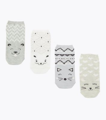 4 Pack Pale Grey Cat Face Trainer Socks