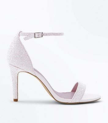 Wide Fit White Glitter Two Part Wedding Sandals by New Look