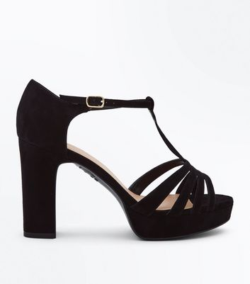 Wide Fit Black Suedette Open Toe Platform Heels
