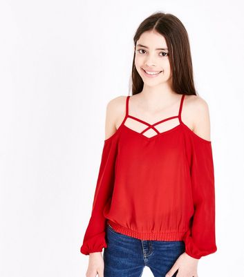 Teens Red Lattice Neck Cold Shoulder Top