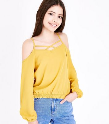 Teens Mustard Lattice Neck Cold Shoulder Top