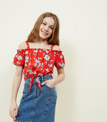 Teens Red Floral Tie Front Cold Shoulder Top
