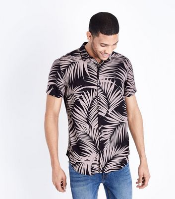 Pink Tropical Leaf Print Shirt