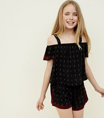 Teens Black Aztec Embroidered Cold Shoulder Top