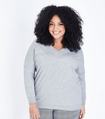 Curves Grey V Neck Sweatshirt
