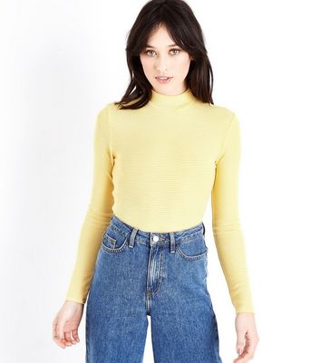 Yellow Stripe Funnel Neck Long Sleeve Top