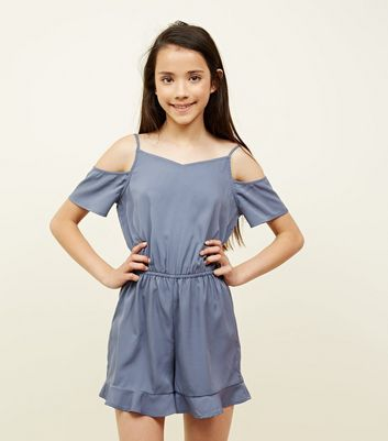 Teens Grey Frill Hem Cold Shoulder Playsuit by New Look