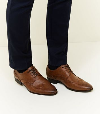 Tan Perforated Lace Up Brogues