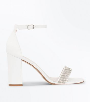 Wide Fit Off White Diamante Strap Wedding Sandals