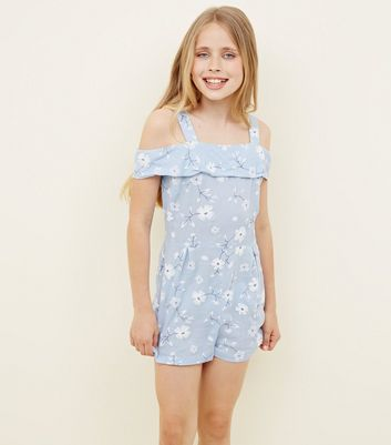 Girls Blue Floral Puff Print Bardot Playsuit