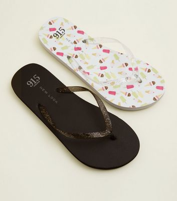 Teens 2 Pack Black and Ice Cream Print Flip Flops