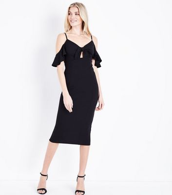 Tall Black Cold Shoulder Tie Front Midi Dress by New Look