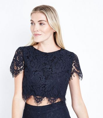 Navy Lace Crop Top