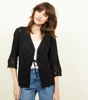 Black Embroidered Crochet Trim Cover Up
