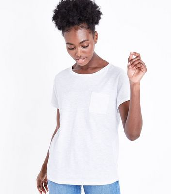 Tall White Organic Cotton Pocket Front T-Shirt
