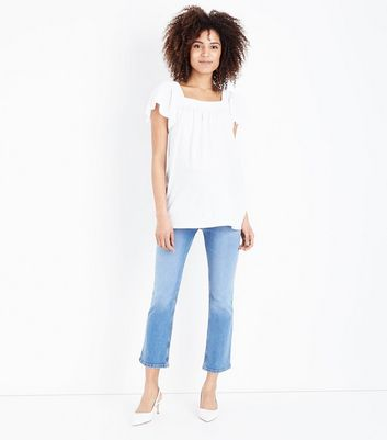 Maternity Blue Over Bump Cropped Kick Flare Jeans