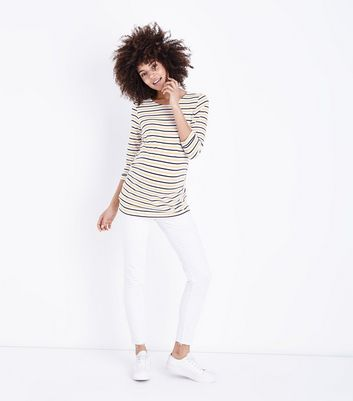 Maternity White Over Bump Skinny Jeans