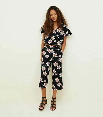 Teens Black Floral Culotte Set