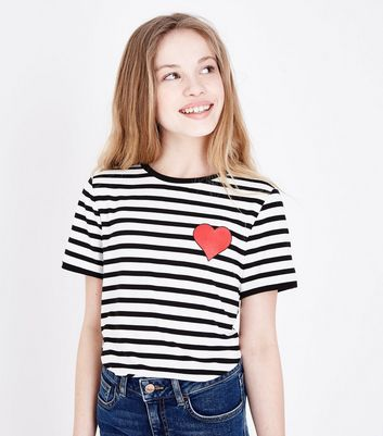 Teens Black Stripe Heart Bodysuit