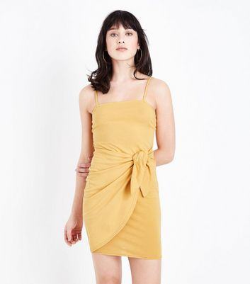 Mustard Tie Side Bodycon Dress