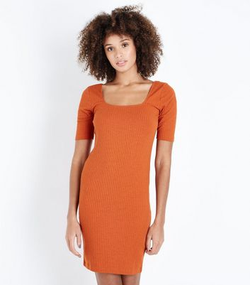 Rust Ribbed Square Neck Bodycon Dress