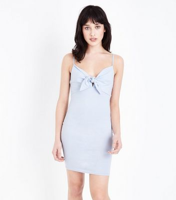 Blue Tie Front Bodycon Dress