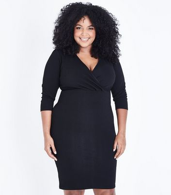 Curves Black Wrap Front Midi Dress