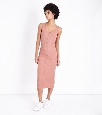 Coral Ribbed Button Front Midi Dress