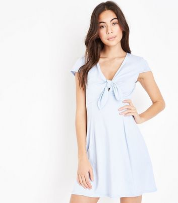 Blue Tie Front Jersey Skater Dress
