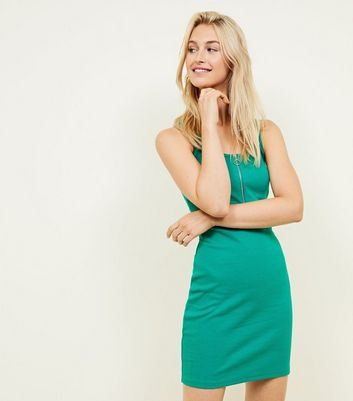Green Zip Front Ribbed Bodycon Dress