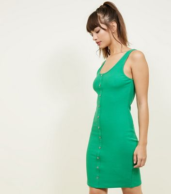Green Ribbed Button Front Bodycon Dress