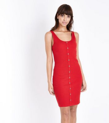 Red Ribbed Button Front Bodycon Dress by New Look