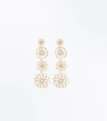 Gold Floral Diamante Drop Earrings