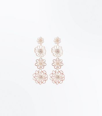 Rose Gold Diamante Flower Drop Earrings