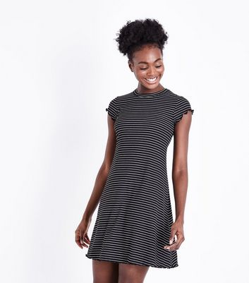 Black Stripe Frill Hem Swing Dress